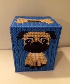 Pug Tissue Box, Pug Box Cover, Plastic Canvas Box, Boutique Tissue Box, Pug Room Decor, Custom Box Cover, Dog Theme Box, Animal Lover Gift