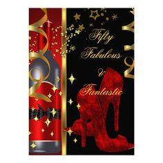 50 & Fabulous Fantastic Red Black Gold Birthday Invitation