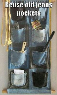 Dont throw away old jeans that are torn. I plan on making this for the tack room of the horse trailer!