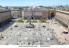 Aerial view of square from roof of famous Cathedral Duomo di Milano on piazza in Milan, Italy