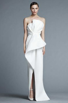 This dress from J. Mendel bridal is modern and sophisticated enough to move into the black tie category. For more info on the Spring 2015 collection go to http://www.jmendel.com/bridal-2015-collection?i=1