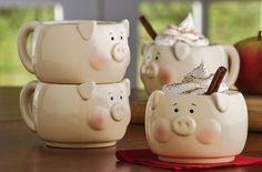 Stacking pig mugs