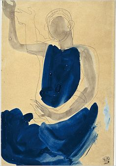 'Cambodian Dancer' (1906) by French sculptor & artist Auguste Rodin (1840-1917). Graphite pencil & gouache, 31.3 x 19.8 cm. via Musée Rodin