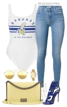"""Banana"" by highfashionfiles on Polyvore featuring Chanel, Mykita, Giuseppe Zanotti, Michael Kors and Jennifer Meyer Jewelry"