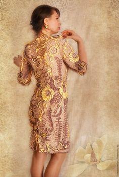 """Купить Платье""""Весеннее пробуждение"""" - комбинированный, цветочный, ирландское кружево, модерн, объемные элементы, нарядное платье"""