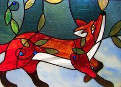 Orden de encargo zorro rojo arándano parche con principios nieve Folkart vidrieras