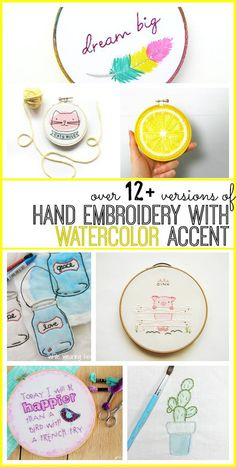 tons of cute diy ideas for hand embroidery with watercolor accent - love all of these designs! - - Sugar Bee Crafts