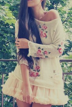 Tutu + oversized floral top kinda little girly but I like it!