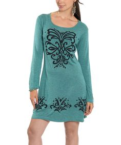 This Teal & Black Embroidered Tunic - Women by Luv2Luv is perfect! #zulilyfinds
