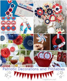 Red White & Blue Entertaining | Patriotic Decorations and Printables at TidyMom.net