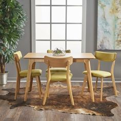 Christopher Knight Home Aman Mid Century Natural Oak Finished 5 Piece Wood Dining Set with Green Tea Fabric Chairs Solid Wood Dining Set, 5 Piece Dining Set, Kitchen Dining Sets, Dining Room Sets, Kitchen Nook, 4 Dining Chairs, Dining Room Furniture, Furniture Logo, Redoing Furniture