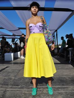 Liliana Saumet Catwalk Fashion, High Fashion, Preppy, Midi Skirt, High Waisted Skirt, Strapless Dress, Street Style, Couture, Stylish