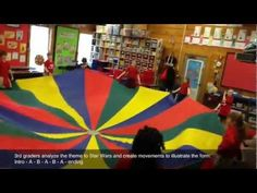 "Star Wars Musical Form + Parachute // Students explore the musical form (Extended Ternary) of the theme to ""Star Wars"" and create contrasting movements with a parachute. Video example of 3rd gr. music class."