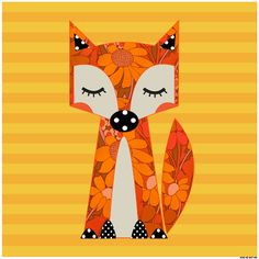 Our Sunny Finn Fox fabric panel perfect for sewing or framing. xoxo cat and vee