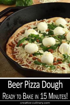 Love pizza made fresh at home but never have the time? Try this 15 Minute Beer Pizza Dough...and have a homemade pizza out of the oven faster than a delivery! via @creativculinary