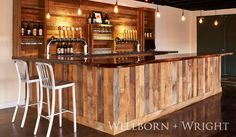 Wellborn + Wright custom reclaimed barn siding bar for Hardywood Brewery.