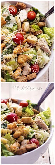 Chicken Caesar Pasta Salad (Sub GF croutons, GF rotini, lactose free Caesar dressing).