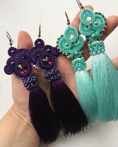 Эта прекрасная пара завтра встретится со своей хозяйкой @ekaterinamostov  #aminasjewellery #soutage #soutache #сутаж #сутажнаявышивка #сутажноеукрашение #ручнаяработа #мирный Fringe Earrings, Drop Earrings, Boho Jewelry, Jewelery, Soutache Necklace, Wood Necklace, How To Make Earrings, Shibori, Beaded Embroidery