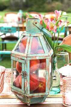 vintage mint lantern with peaches wedding centerpiece - Deer Pearl Flowers