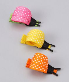 Take a look at this Pink, Yellow & Orange Ladybug Clip Set by Monkey Loves Bownanas on #zulily today!