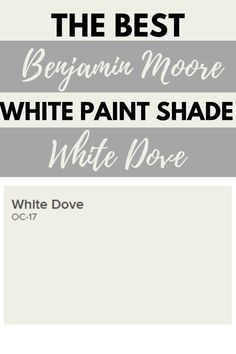 White Dove OC-17 is one of the best-selling and most popular white paint colors by Benjamin Moore. It's the perfect off-white paint color for kitchen cabinets, trim, interior walls, and the exterior of the home. #paintcolors #painting #interiordesign Off White Paint Colors, Off White Paints, Neutral Paint Colors, Bedroom Paint Colors, Interior Paint Colors, Interior Walls, Interior Design, Most Popular Paint Colors, Best Paint Colors