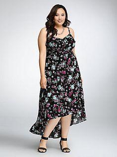 Floral Ruffle Hi-Lo Maxi Dress,