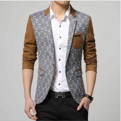 Men's Two Tone Blazer Print Jacket