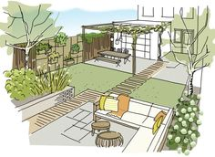 Ontwerp zelf je tuin in 3 stappen Je eigen tuin ontwerpen in drie stappen via Karwei, While old around idea, the particular pergola have been suffering from a modern-day renaissance these days. An attractive open-air pound without having wall surfaces. Backyard Pergola, Pergola Plans, Backyard Landscaping, Landscaping Ideas, Small Garden Plans, Garden Design Plans, Eisen Pergola, Design Jardin, Rooftop Garden