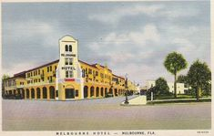 This vintage postcard shows the Melbourne Hotel.  The hotel is still standing as of 2013, and serves as an office building for many small businesses in Melbourne, Florida.