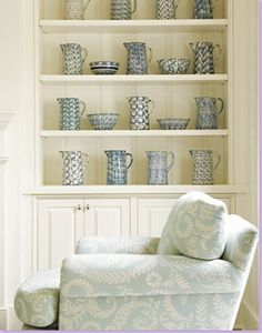 living rooms - chair built-ins blue cream ivory living room Lovely built-ins: shelves and cabinets with blue pottery! Blue Family Rooms, White Rooms, Decor, Interior Design, Home, Ivory Living Room, Interior, White Decor, Home Decor