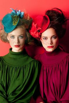 brightly coloured hats with flowers and big hair, Cora Kemperman