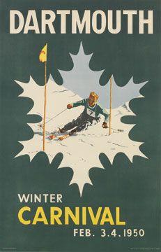 1950 Dartmouth Winter Carnival vintage ski poster