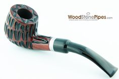 "5"" Tobacco Pipe - Engraved Traditional Style Bent Stem Smoking Tobacco Pipe with Charcoal Filter."
