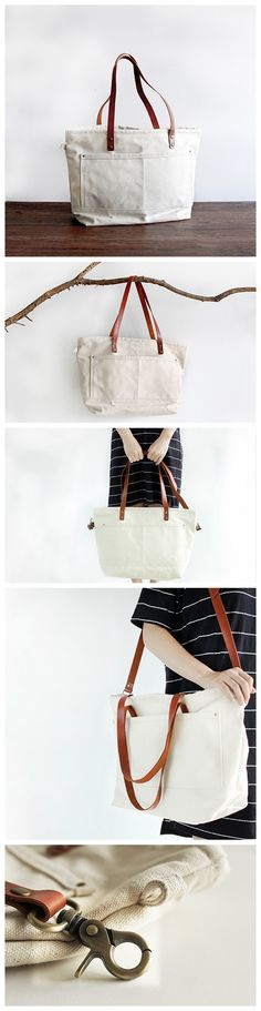 Waxed Canvas Tote with Leather Messenger Bag Crossbody Bag School Bag Handbag 14052