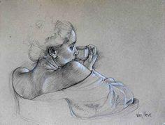 Angelika Pierre Noire avec rehauts de blanc 50 x 65 cm Galerie Alain Blondel +