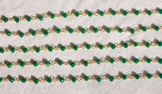 5 Feet Green Onyx Hydro Rosary 24k GoldPlated 3.50 mm Beads Rosary Beaded Chain. # #Faceted