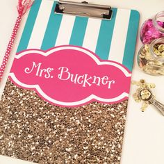 personalized clipboard monogrammed by PaperDollDesignsShop on Etsy   coral and white stripes, and brick bubble