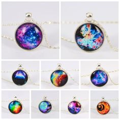 Vintage Galaxy Necklace Pendant Glass Cabochon Statement Chain Necklace for Women Vintage Alloy Jewelry Fine Jewelry