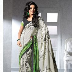 Off White and Light Green Faux Crepe Saree with Blouse