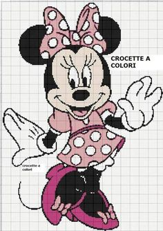 Minnie Mouse x-stitch Disney Cross Stitch Patterns, Cross Stitch For Kids, Cross Stitch Baby, Cross Stitch Kits, Crochet Disney, Disney Stitch, Cross Stitching, Cross Stitch Embroidery, Disney Quilt