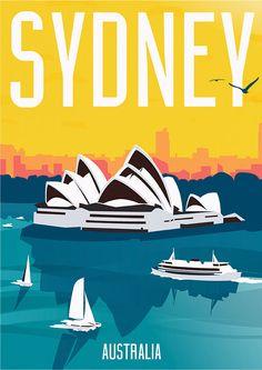 Sydney Australia Travel Poster - Surf Champ - Pin To Travel Sydney Australia Travel, Australia House, Coast Australia, Victoria Australia, Posters Australia, Photo Vintage, Vintage Style, Illustration, Arte Pop