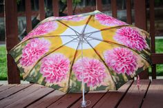 "Pink Custom Designed Umbrella featuring floral photography prints,41"" span,MANUAL Lightweight Umbrella,Flower Print,Flower Photography,Rain"