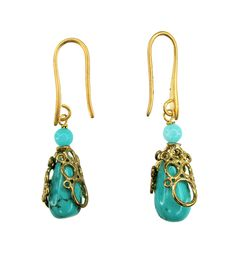 Elizabeth Wahyu Accessories          Made with Turquoise stones				 							 #earrings #jewellery #accessories   #handmade #bauble  www.elizabethwahyuaccesories.com