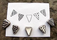 bunting flag stamps -set of 5- try to make out of erasers
