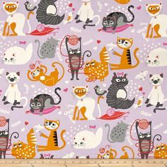 Alexander Henry Nicole's Prints Whiskers Lilac from @fabricdotcom  Designed by Deleon Design Group for Alexander Henry, this cotton print is perfect for quilting, apparel and home decor accents. Colors include black, shades of grey, pink, coral, gold, lilac and white.