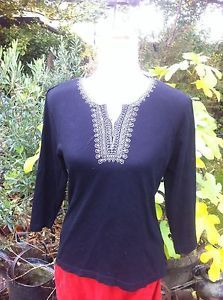 Black Long Sleeve Tunic Top With Silver Embroidery From Bon Marche Size M | eBay