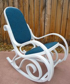 I think this is so pretty....the contrast of the blue upholstery against shiny white is exhilarating!!! Brentwood Style Rocking Chair by MZAD on Etsy, $250.00