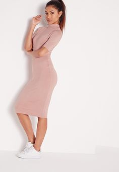 Missguided - High Neck Short Sleeve Bodycon Dress Dusky Pink