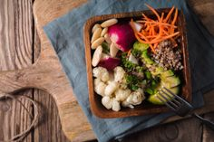 healthy salad with buckwheat and vegetables top view