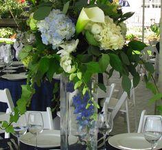 Blue & white centerpiece